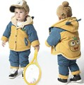 Children autumn and winter set male thickening wadded jacket infant plus velvet cotton-padded jacket winter set 0-3 years