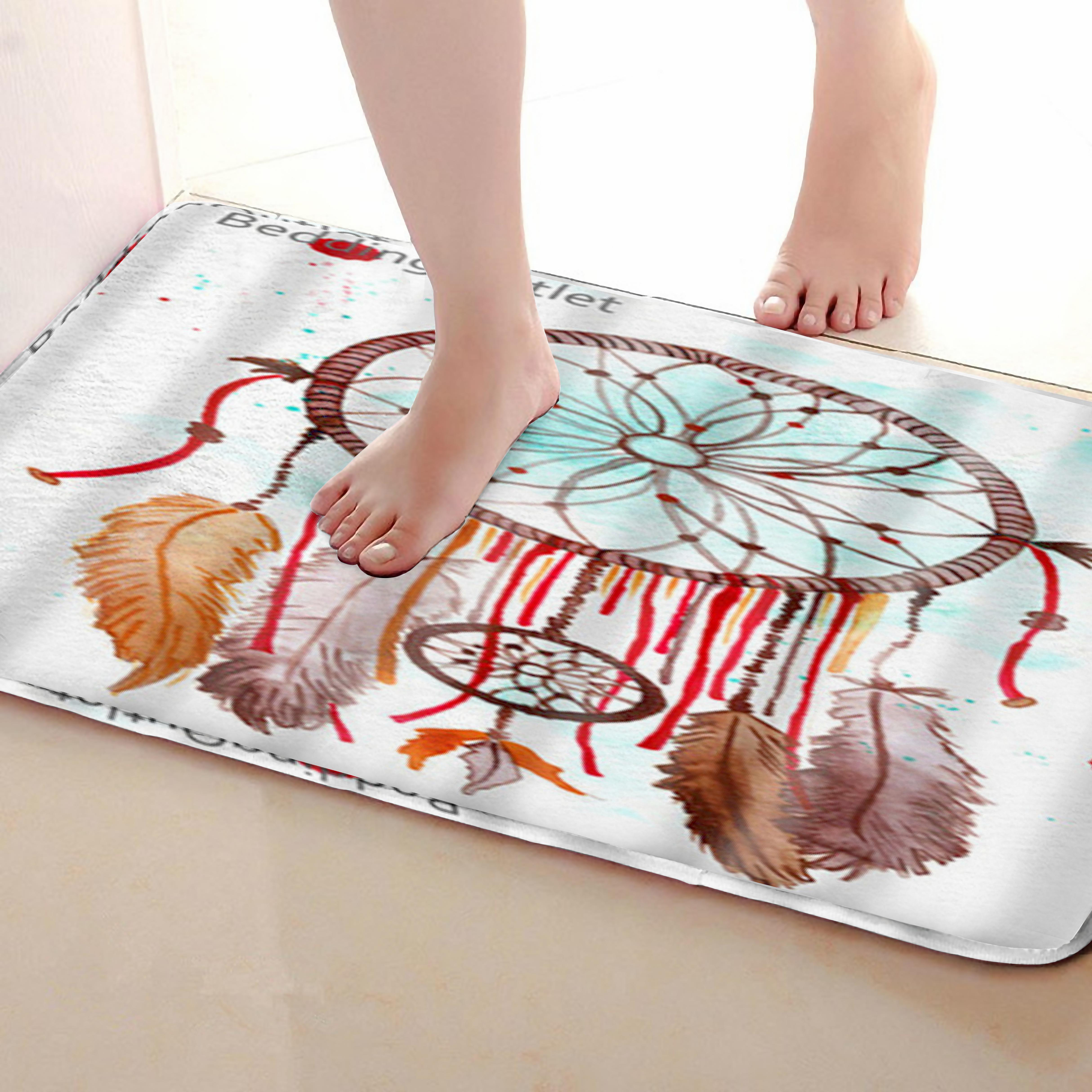 Feather Style Bathroom Mat,Funny Anti Skid Bath Mat,Shower Curtains Accessories,Matching Your Shower Curtain