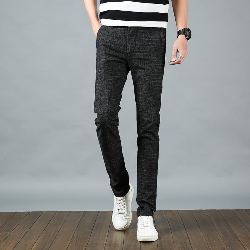 2018 Spring Classic Brand Clothing Mens Casual Pants Men Business Dress Slim Fit Jogger Pants Stretch Long Trouser Male Cotton