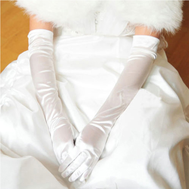 Satin Long Finger Elbow Sun protection gloves Opera Evening Party Prom Costume Fashion Gloves black red white grey women B2528b 2
