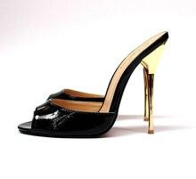 14cm glossy black slides big size sexy high-heeled sandals 8.5 - 20