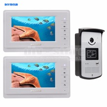 DIYSECUR 4-Wire Video Door Phone Video Intercom Kit Outdoor 1 X Camera With RFID 2 X 7 inch LCD Color Monitor