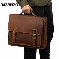 NIUBOA Vintage Men Cowhide Shoulder Bags 100% Genuine Leather Briefcase Travel Messenger Bag First Layer Leather Business Bags