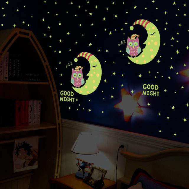good night glow in the dark owl moon star wall sticker