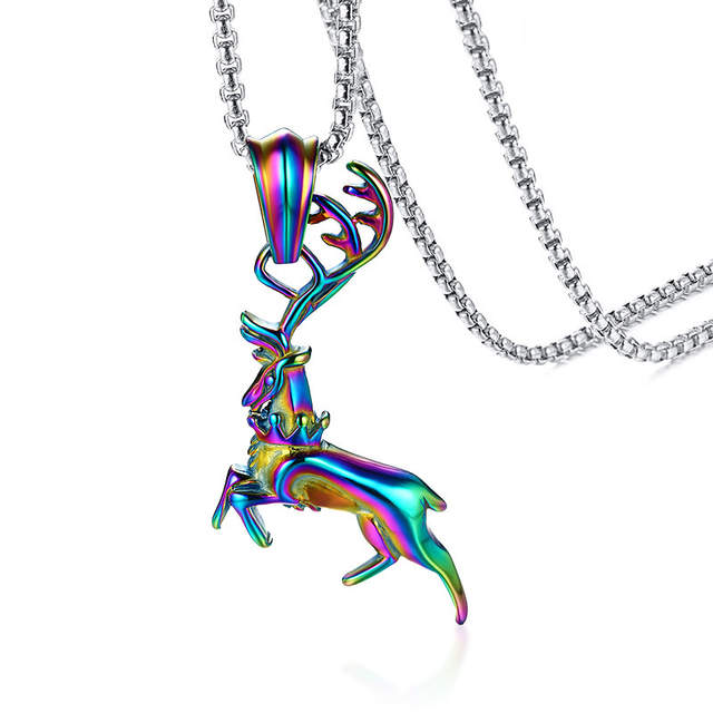 9820eea614e1f US $9.71 38% OFF|Rainbow Leaping Deer Pendant Necklace for Men Women  Stainless Steel Elk Bambi Caribou Reindeer for Male Jewelry Christmas  gift-in ...
