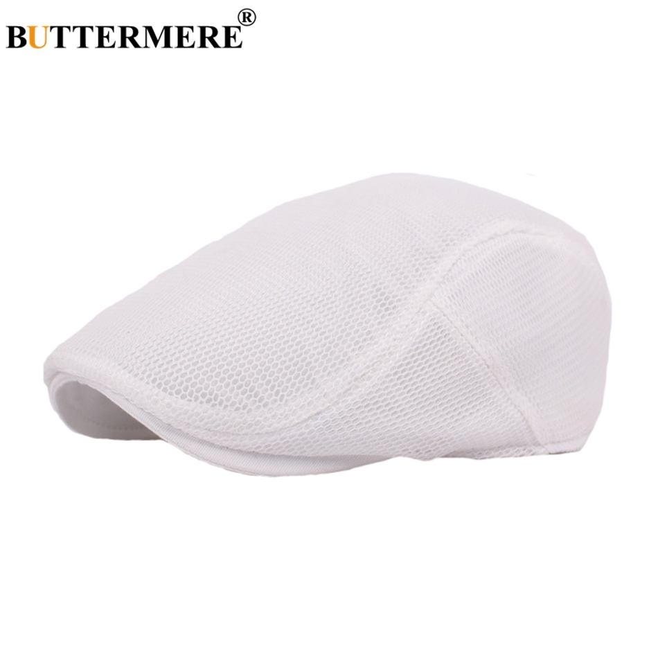 BUTTERMERE Summer Berets Mens White Vintage Casual Driving Flat Beret Cap Adjustable Spring Mesh 2019 New Duckbill Hat And Caps in Men 39 s Berets from Apparel Accessories