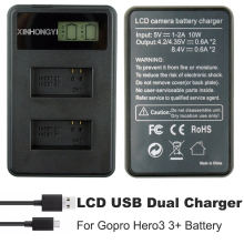AHDBT-301 Go Pro Hero3 battery Charger AHDBT 301 AHDBT-201 LCD Dual USB For GoPro 3+ Sports Camera Accessories