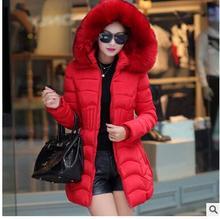 Женские зимние пальто 2017 мода повседневная 5-цветная тонкий хлопок большой воротник женские зимние пальто размер L-XXXXL