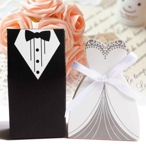 100 PCS/Set Hochzeit Gunsten Candy Box Braut & Bräutigam Kleid Smoking Partei w/Band boite dragees de mariage-in Geschenktüten & Verpackungs-Zubehör aus Heim und Garten bei title=