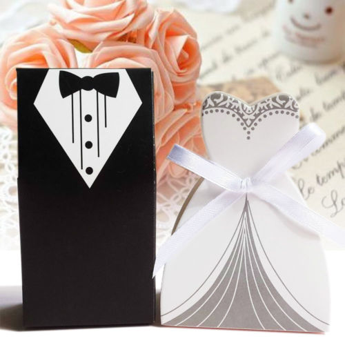100PCS/Set Wedding Favor Candy Box Bride & Groom Dress Tuxedo Party W/ Ribbon Boite Dragees De Mariage