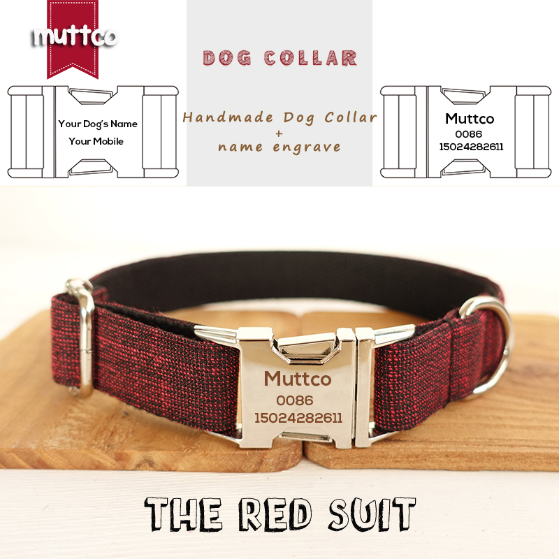 MUTTCO Customized collars for dogs retailing handsome handmade collar Anti-lost THE RED SUIT unique design dog collar 5 sizes