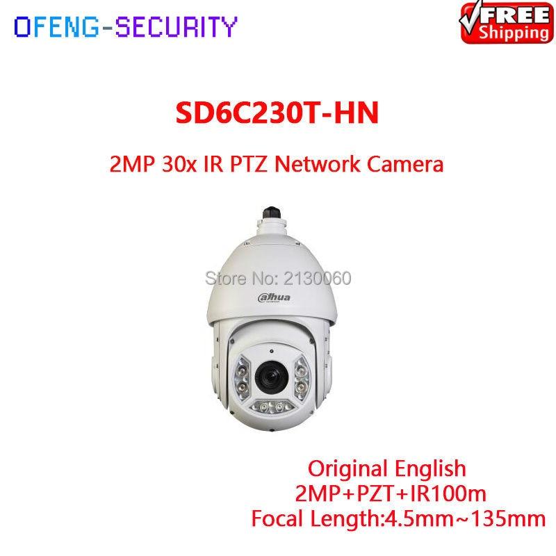 Dahua PTZ 2MP SD6C230T-HN 2MP Speed Dome 30x optical zoom IR PTZ Network Camera , IR 100m, Original English Version ree shipping dahua 2mp 30x network ir