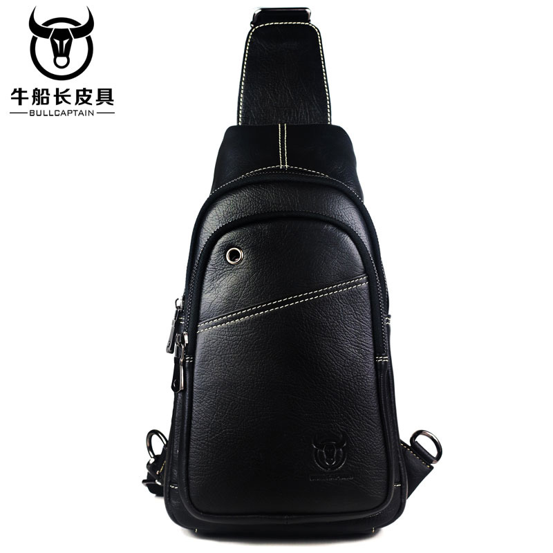 BULL CAPTAIN Small sling chest bag men causal messenger bag Male Shoulder Bags Fashion Genuine Leather Crossbody Bags 2COLOR