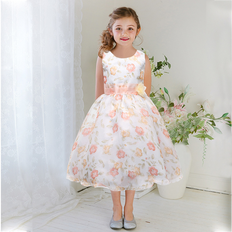 Casual flower print girl dress wedding party costume for Wedding party dresses for girl