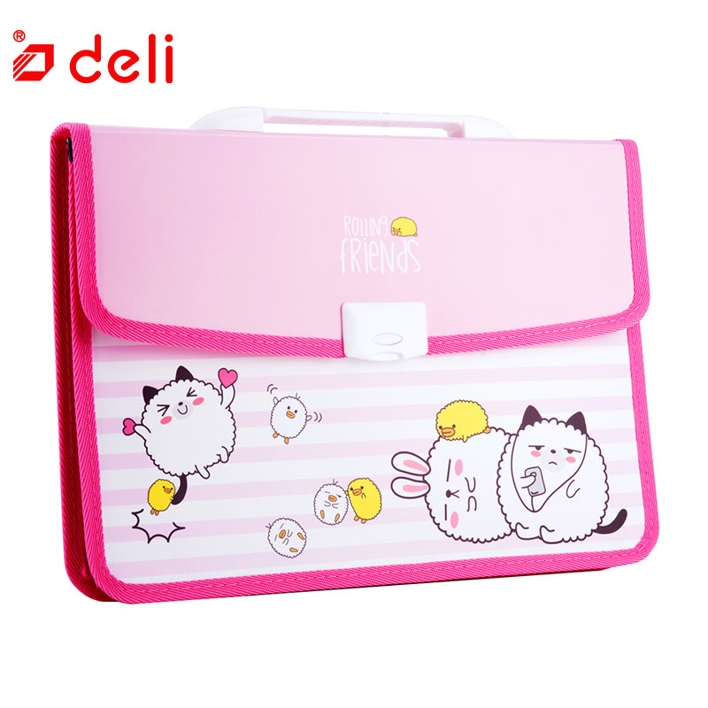 Deli Cute Cartoon A4 File Folder  Expanding Wallet Document Filing Bag Storage Stationery Paper Document School Office Supplies deli a4 folder 8 grids portable multi layer paper bag information package expanding wallet document bag school office supplies