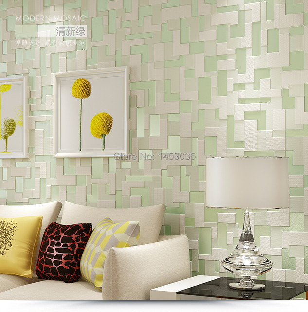 Aliexpress Com Buy High Quality Thick Flocked Modern: Aliexpress.com : Buy High Quality 3D Mosaic Lattice Wall