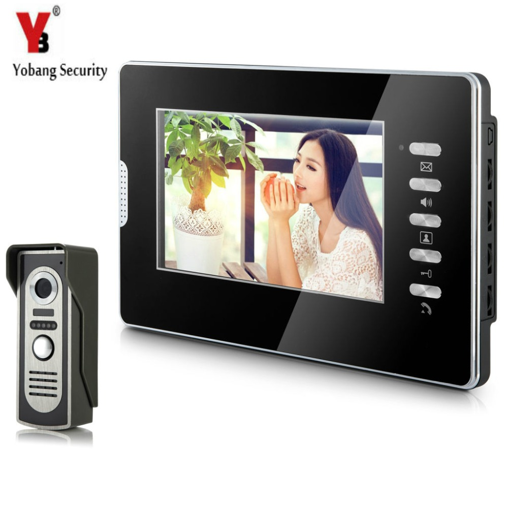 YobangSecurity Wired 7Inch Monitor Video Intercom Doorbell Door Phone Video Intercom Entry Access System 1 Camera 1 Monitor brand new wired 7 inch color video door phone intercom doorbell system 1 monitor 1 waterproof outdoor camera in stock free ship