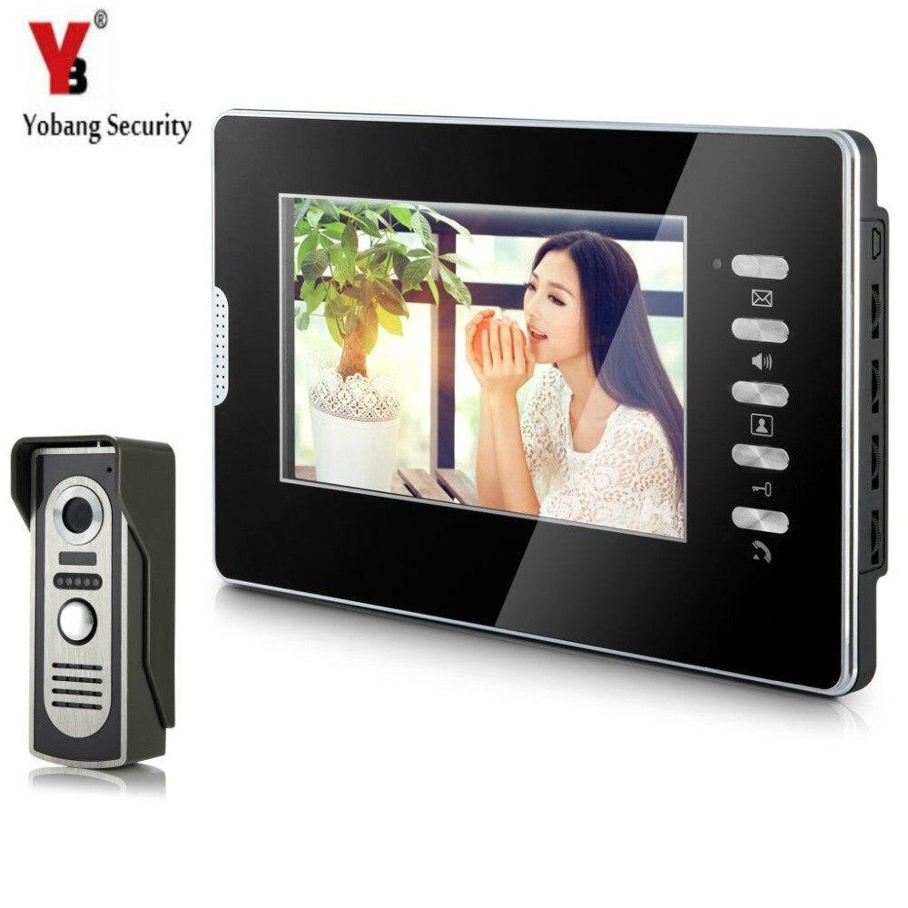 YobangSecurity Wired 7Inch Monitor Video Intercom Doorbell Door Phone Video Intercom Entry Access System 1 Camera 1 Monitor