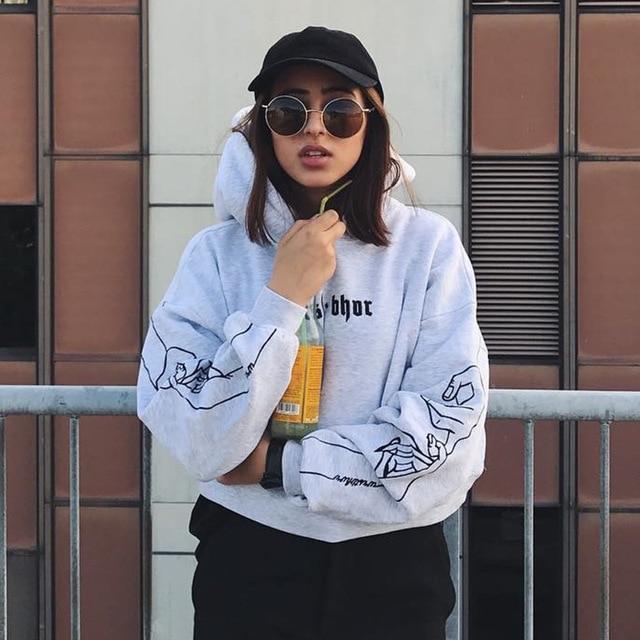 Women Tumblr Sweatshirt Cropped Hoodie Hip Hop Oversized Pullover 2017 Fashion Winter Embroidery Jumper Ullzang Harajuku