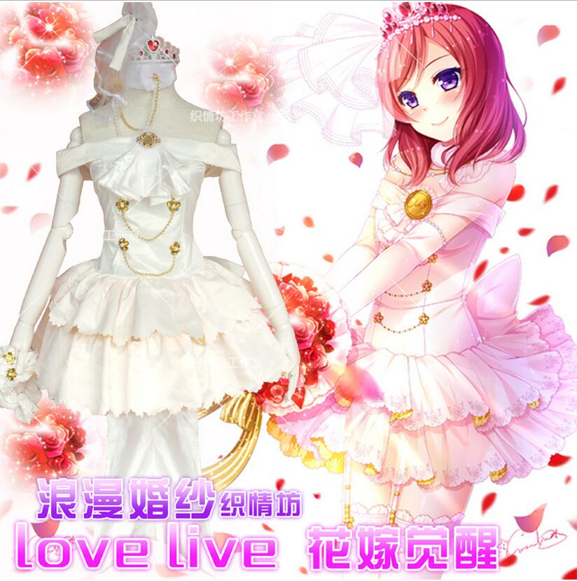 Anime Cosplay Costume Nishikino Maki Love Live Lolita White Wedding Dress  New Coming