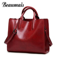 Beaumais Top Handle Bags Fashion Bag For Women 2017 PU Leather Shoulder Bags Luxury Handbags Women