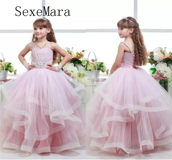 Adroable Pink Puffy Tulle Flower Girl Dresses For Wedding Lace Up Back Pageant Dress For Girls Floor Length Birthday Party Gown orange puffy flower girls dresses for weddings jewel organza lace girls pageant dress open back lace up kids birthday gown