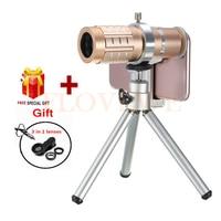 Camera Lens Kit HD 12x Telephoto Zoom Lentes For iPhone 4 5 5C 5S 6 6S 7 Plus Telescope Fish eye Wide Angle Macro Phone lenses