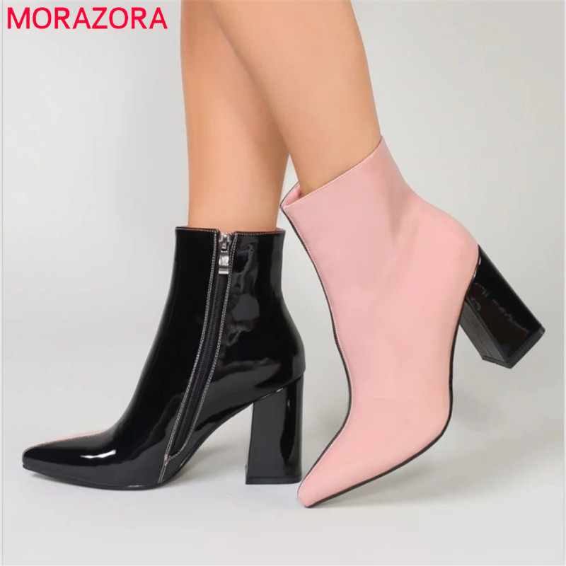 MORAZORA 2019 big size 35 43 ankle boots for women pointed toe autumn high heels shoes
