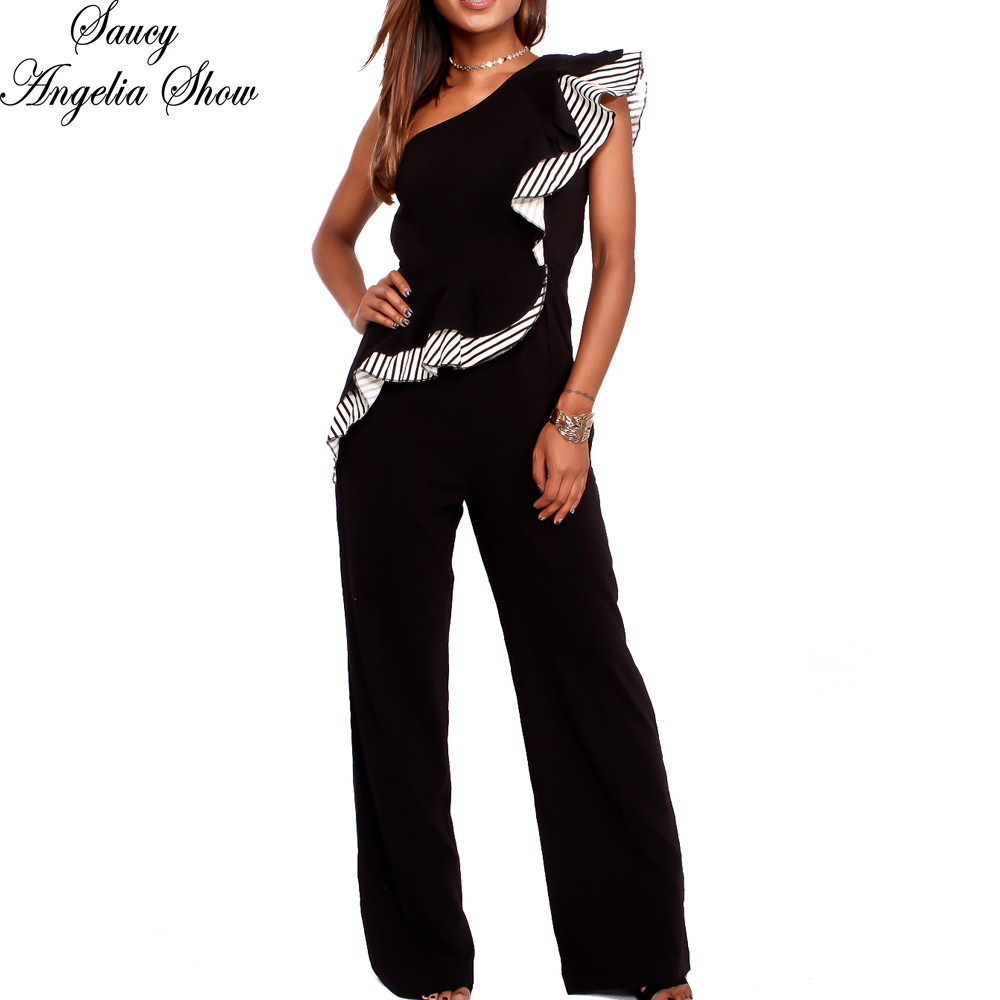 f921146f20a4 SAUCY ANGELIA Rompers Womens Jumpsuit Sexy Irregular Wrap One Shoulder  Summer Bodysuits Ruffles Party Overalls Casual Playsuits-in Jumpsuits from  Women s ...