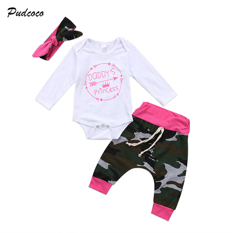 Pants Infant Kids Baby Girl T-shirt Dress Headband Outfits Clothes 3PCS Set
