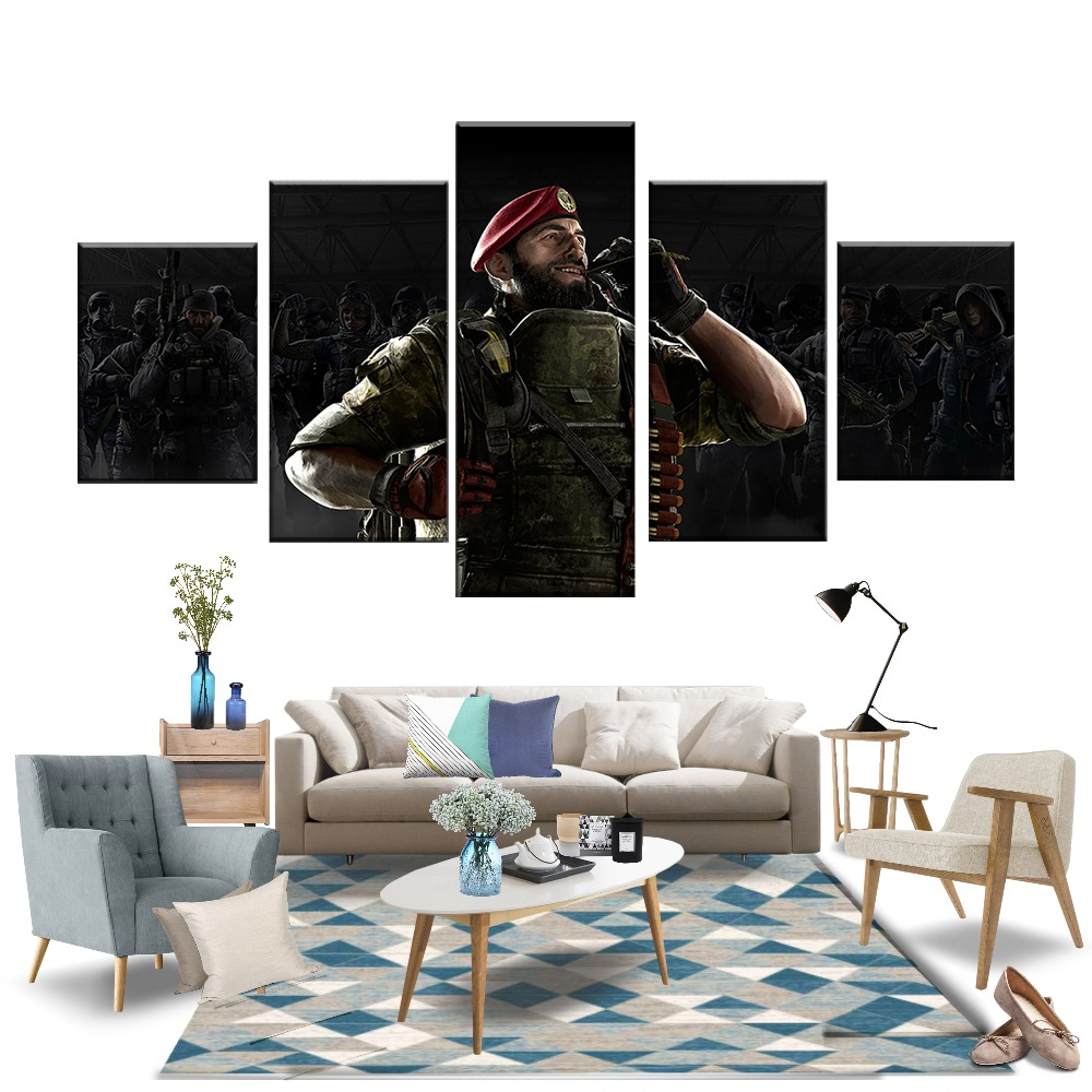 5 Piece Rainbow Six Siege Maestro and Alibi Soldier Pictures Video Game Poster Canvas Art Wall Paintings for Home Decor Wall Art in Painting Calligraphy from Home Garden