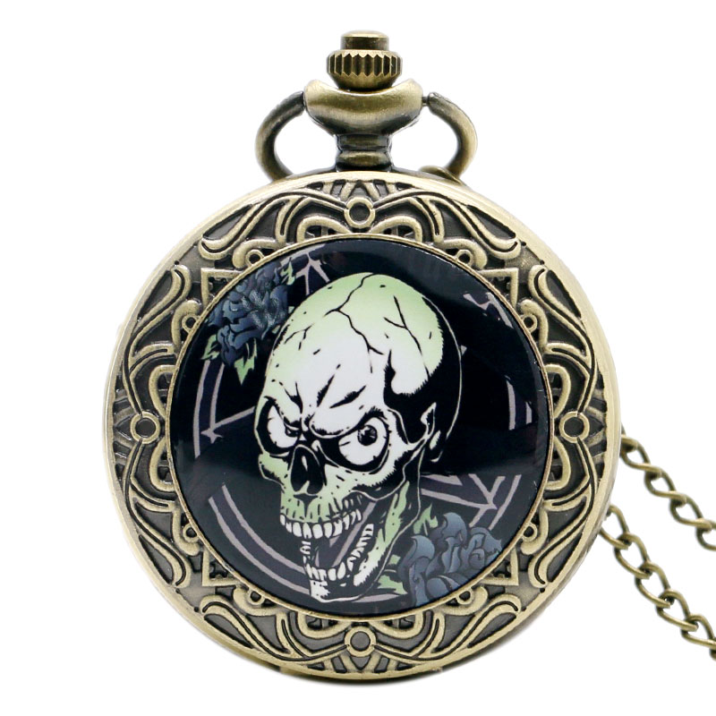 Cool Retro Bronze Zombie Design Case Pocket Watch with Necklace Chain Men Women Best Gift high quality bronze the soviet union flag theme pocket watch with necklace chain gift for men women