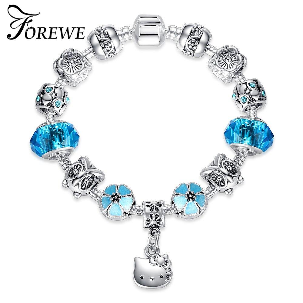 Lovely Kitty Cat Charms Bracelets & Bangles With Blue Murano Glass Beads Bracelet for Women Children Girls Kids DIY Jewelry