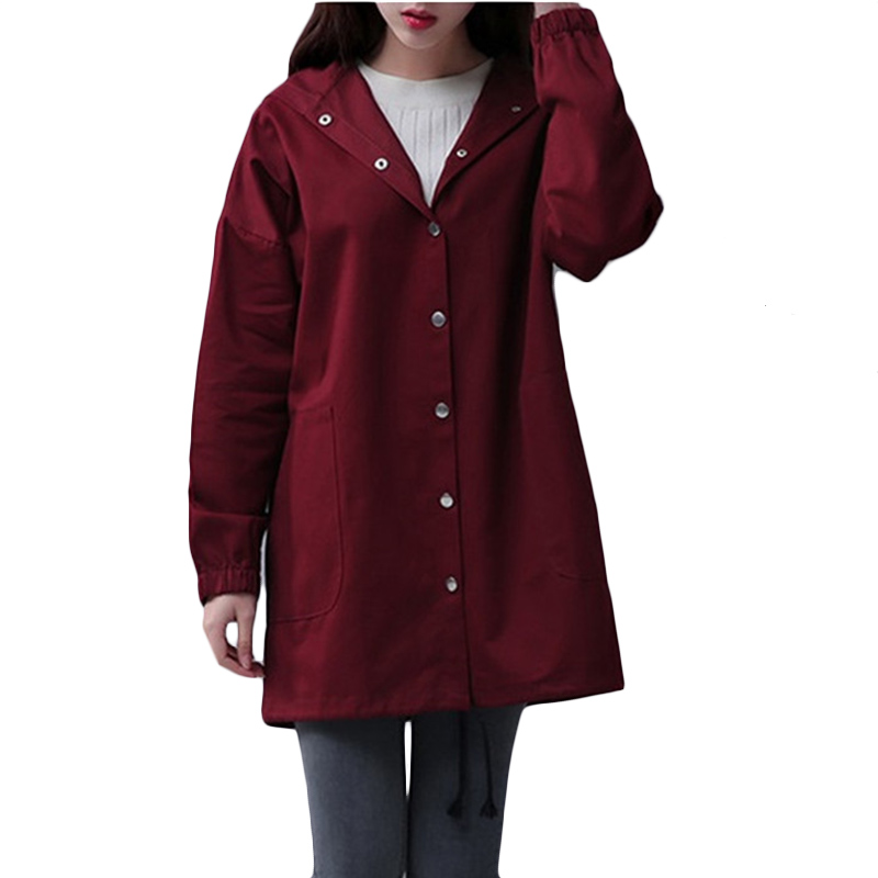 New Spring Autumn Korean Windbreaker coat Khaki Women Fashion Long Student   Trench   coats Womens High quality Hooded Overcome F440