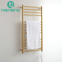 Golden Electric Towel Rail Heating Gold Towel Racks 304 Stainless Steel Bathroom Accessories Drying Holder Warmer ICD60595