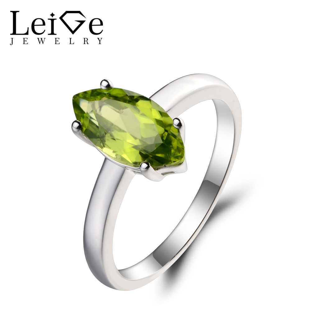 Leige Jewelry Natural Peridot Ring Wedding Ring August Birthstone Marquise Cut Green Gems 925 Sterling Silver Ring Gifts for HerLeige Jewelry Natural Peridot Ring Wedding Ring August Birthstone Marquise Cut Green Gems 925 Sterling Silver Ring Gifts for Her