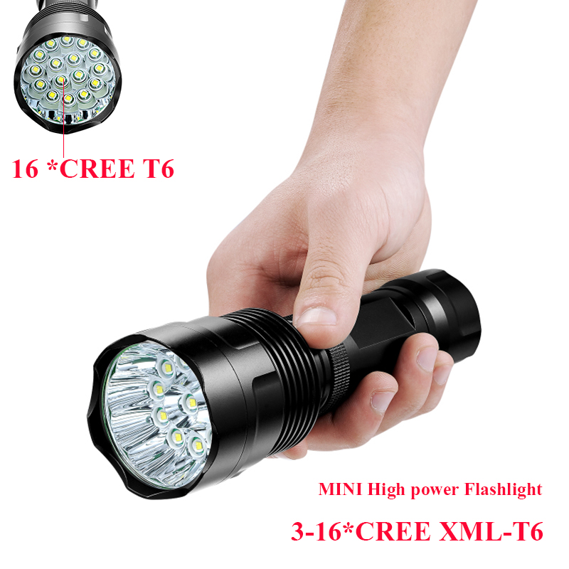 48000 Lumen High Power Flashlight  3 to 16 *CREE XML-T6 Powerful LED Flash light with18650 or 26650 torch light lanterna camping 2015 h1 led cree high lumen 30w 3000lm 6000k no need fan