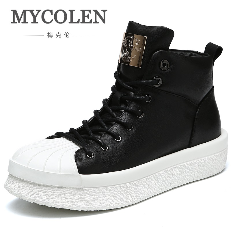 MYCOLEN Luxury Brand Ankle Boots 2018 Autumn Black New Genuine Leather Men Shoes Lace Up British Stylish Men Martin Boots 2018 fashion new men ankle martin boots basic high quality real genuine leather spring autumn luxury brand man black shoes 38 44