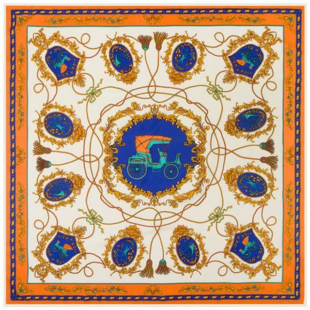 798875da0 100% Silk Square Scarf Spain Neckerchief Original Brand Design Euro  Carriage Rope Tassel Print Hijab