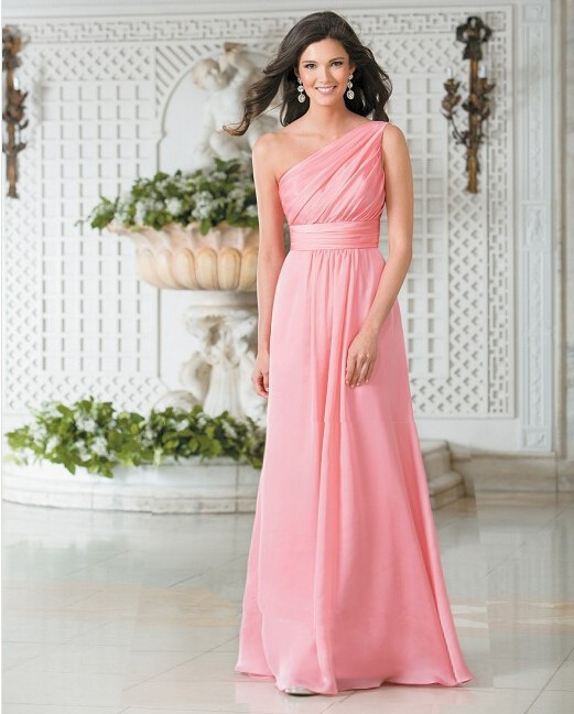 Fashion pink chiffon long bridesmaid dresses 2016 one for Fashionable dresses for wedding guests