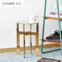 InYard Original Gold Diamond Edge Solid Stainless Steel Gilding Simple Designer Bedside Sofa Side Table