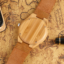 Bamboo Watch With Genuine Leather Band Strap