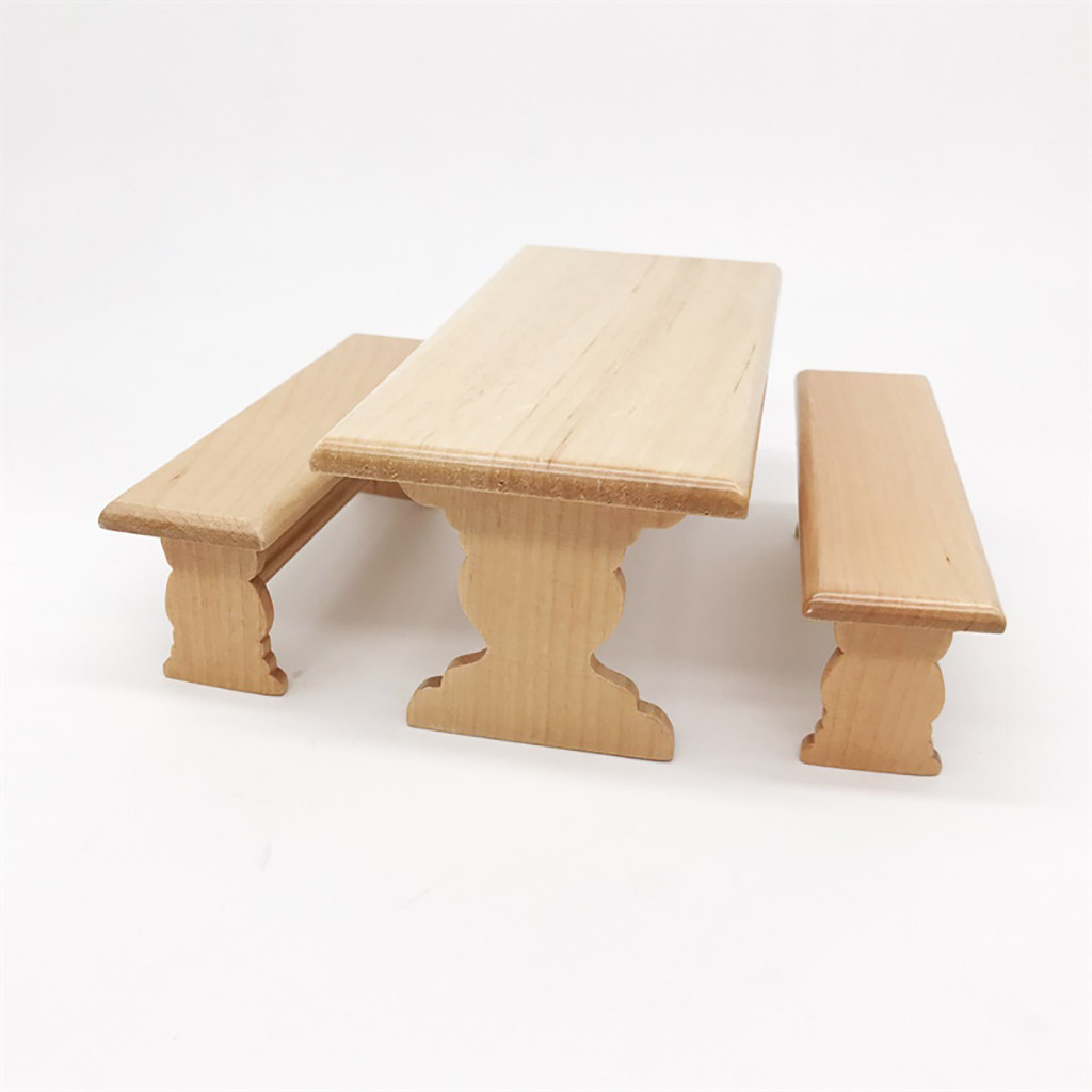 Kids House Miniature Furniture Accessory 1:12 Dollhouse Miniature Furniture Wooden Kitchen Dinette Table Chair Toy 2019 L425