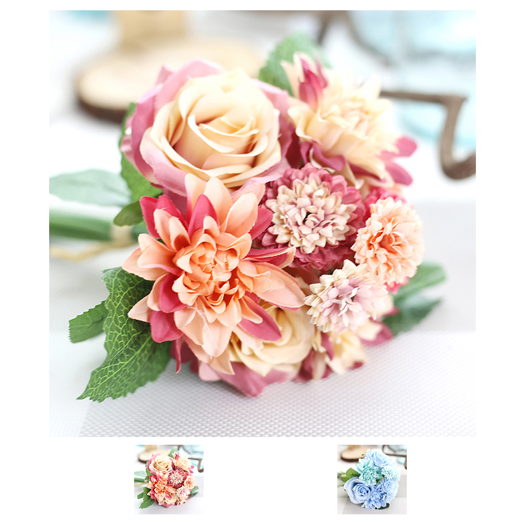 Artificial Dahlia Rose Chrysanthemum Bunch Silk Flowers Wedding