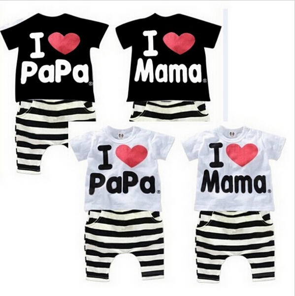 New Summer Kids Clothing Set Boys And Girls I Love Papa and Mama Short Sleeve Tshirt+pants Suit Kids Clothes