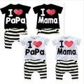 Nuevo Verano Niños Clothing Set Boys And Girls Amo Papá y Mamá Manga Corta T-shirt + pants de Los Niños ropa