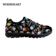 WHEREISART Classic Mens Punk Rock Skull Style Sneakers Shoes Trendy Shoe For Men Students Boys Comfortable Walking Flats