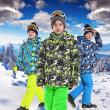 Winter Boy Ski Suit Hooded Outdoor Snowboard Jacket Keep Warm Childrens Skiing Set Roupa De Terno Esqui And Windproof