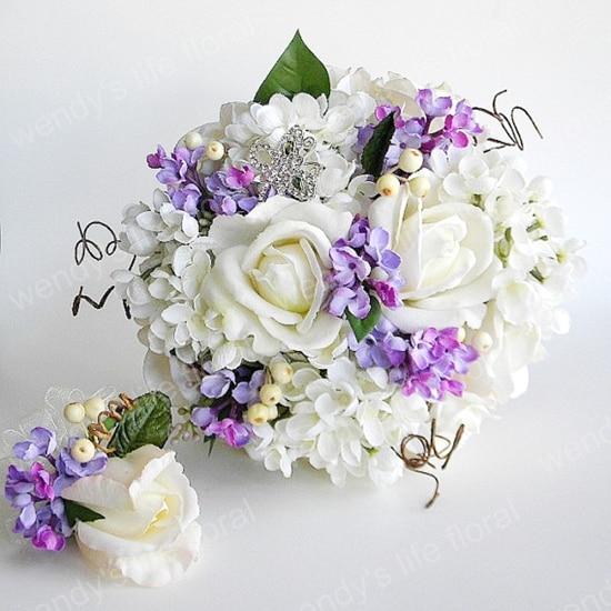 blanc violet s rie rose hortensia bouquet pour demoiselle d 39 honneur mari e tenant des fleurs. Black Bedroom Furniture Sets. Home Design Ideas