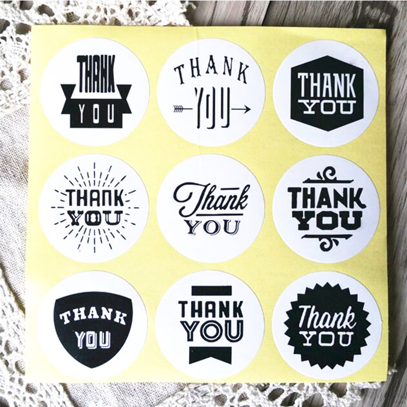 90PCS/lot  Vintage White Kraft Paper Thank You Stationery label sticker/Students' DIY Retro Seal sticker For handmade products 3d laser cut pop up greeting cards happy birthday postcards vintage chic retro peacock thank you gift message cards for girl